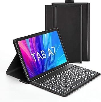 Jelly Comb Funda con Teclado España Ñ para Samsung Tab A7 10.4 2020, Teclado Bluetooth Desmontable Retroiluminación de 7 Colores, Estuche Protector ...