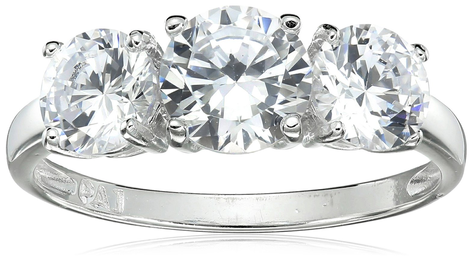 Sterling Silver Cubic Zirconia Three Stone Engagement Promise Ring, Size 7 by Amazon Collection (Image #1)