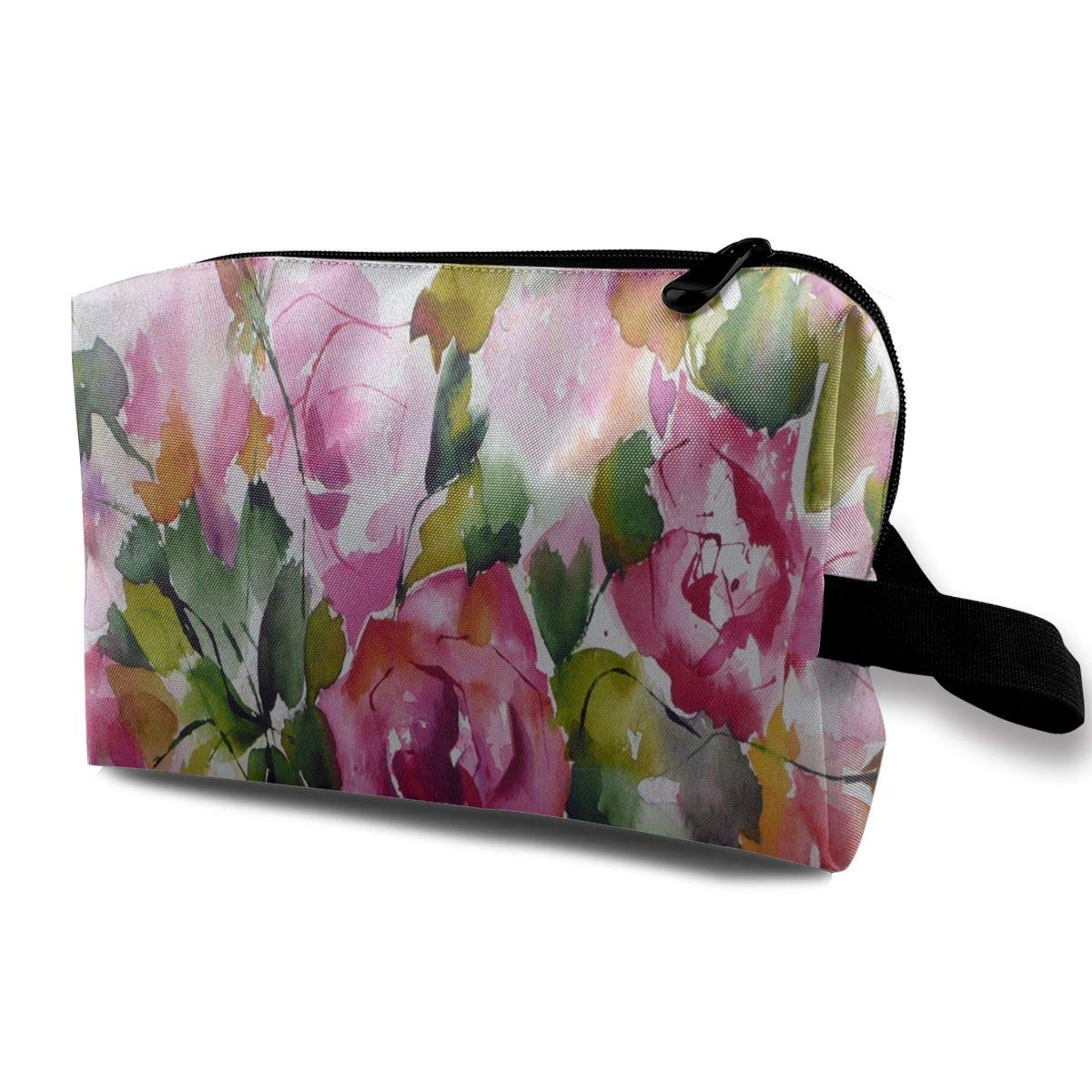 Makeup Bag Watercolor Painting Of Flowers Portable Travel Multifunction Cosmetic Bags Customized Case For Girls