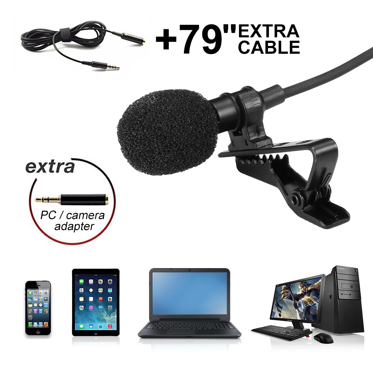 Lavalier Microphone,Hizek Professional Lavalier Lapel Mic with Clip On System for Recording Youtube, Interview,Conference,Podcast, iPhone,iPad,iPod,Android,Mac,PC(138''Long Cord) PC(138''Long Cord)