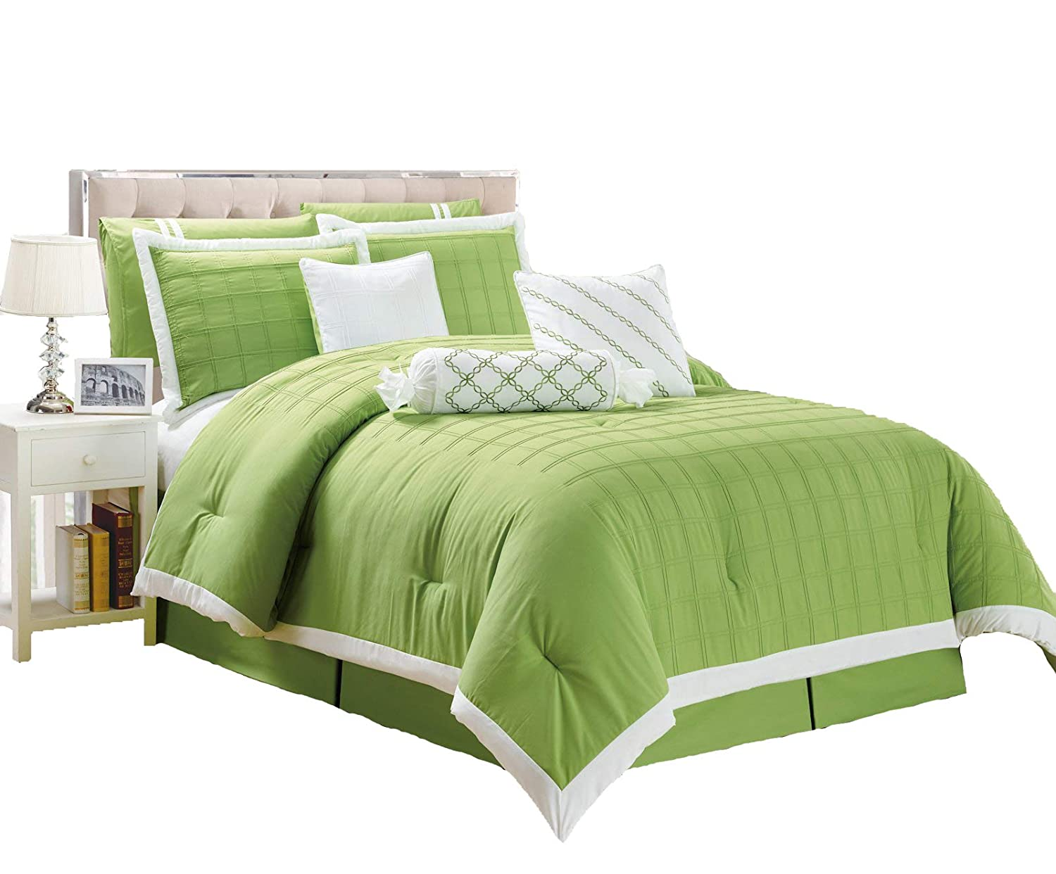 Legacy Decor 9 pc Lime Green and White Color, Pleated Microfiber Comforter  Set, Queen Size