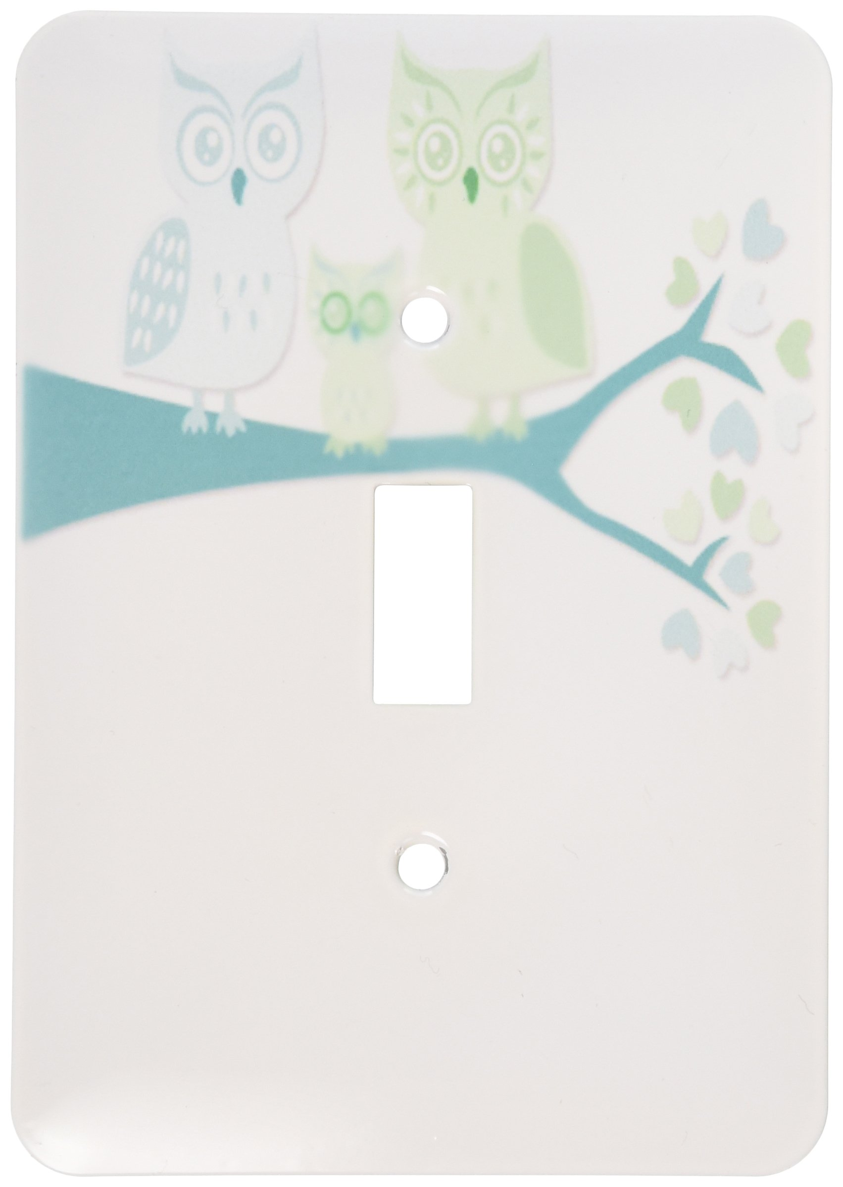 3dRose LLC lsp_128533_1 Cute Owl Family with Baby Boy, Blue and Green Single Toggle Switch