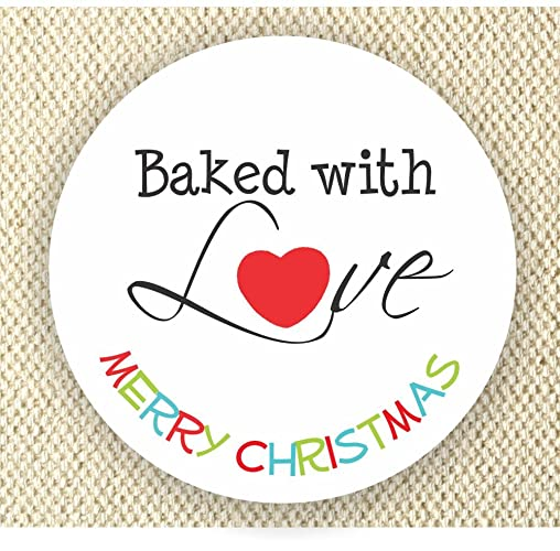 Merry Christmas Labels.Amazon Com Baked With Love Christmas Labels Happy
