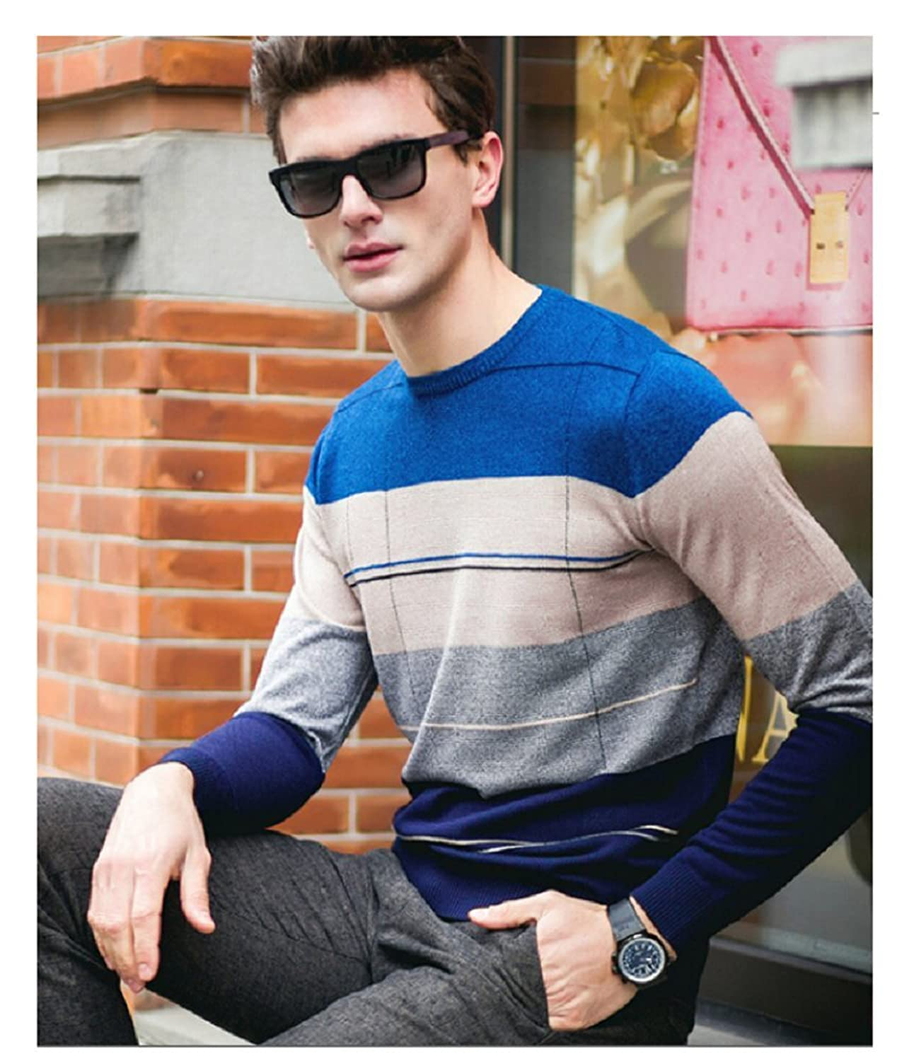 HUAYAN Men's round Neck Sweater Contrast color Pacific Pullover