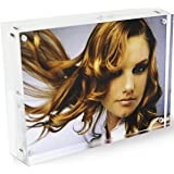 Clear 5x7 Double Crystal Picture Frames Desk Acrylic Magnetic Photo Frames Kit Display Stand Holder for Family Love Baby First Daddy Double Sided 5 by 7 20% Extra Thick Love DYCacrlic (5x7inch)