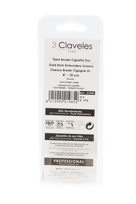 3 Claveles 61 - Tijera de bordar cigüeña 10 cm: Amazon.es: Hogar