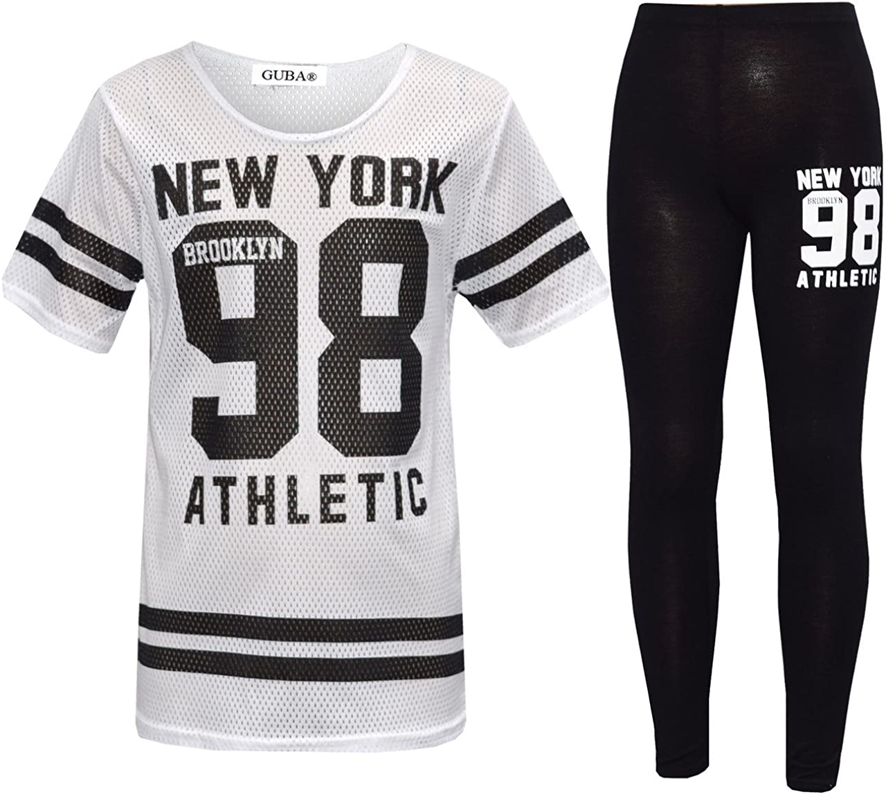 Girls New York 98 NET TOP /& Legging Set Kids 2 Pieces Fashion Outfits Age 7-13 Years 13 Years, White