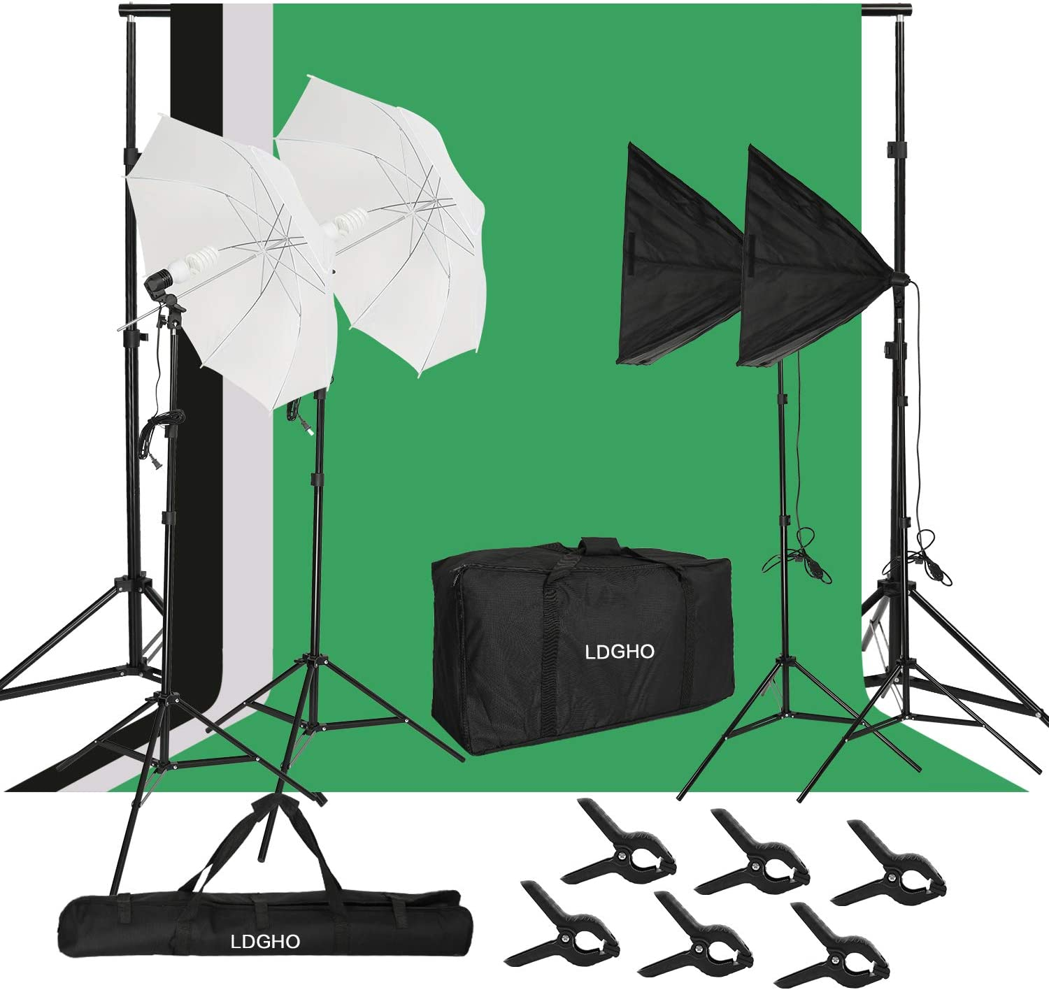 2.6M x 3M/8.5FT x 10FT Background Support System with 5500K Umbrellas Softbox Continuous Lighting Kit for Photo Studio Product and Video Shoot Photography