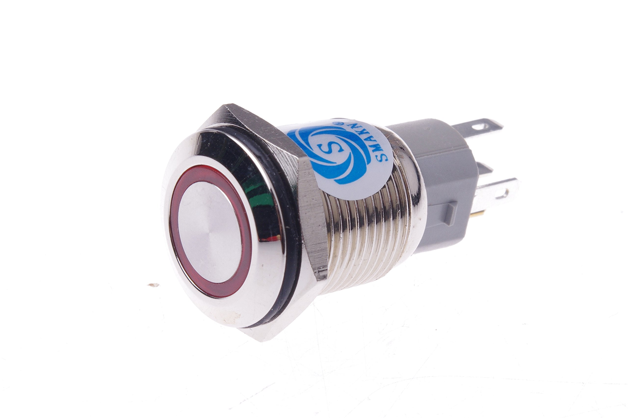 SMAKN® RED Led 16mm 12V stainless Steel Round Momentary Push Button Switch with transposon