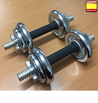 2X Mancuernas pesas de 10 KG total ejercicio gimnasio Pesas de disco: Amazon.es: Deportes y aire libre