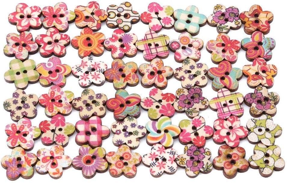 Ogquaton /50 unids botones de madera creativos hechos a mano multi formas botones lindos para hacer la decoraci/ón de costura de flores
