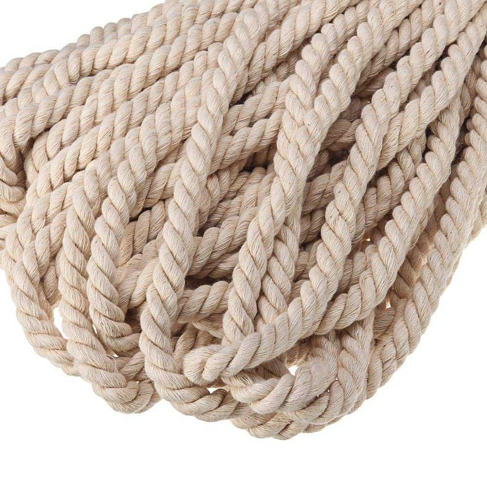 FINCOS 8MM/10MM Macrame Cord Natural Cotton Handmade Macrame String Wall Hangings Plant Hanger Twisted Rope - (Color: 8MM x 50Meters) by FINCOS (Image #4)