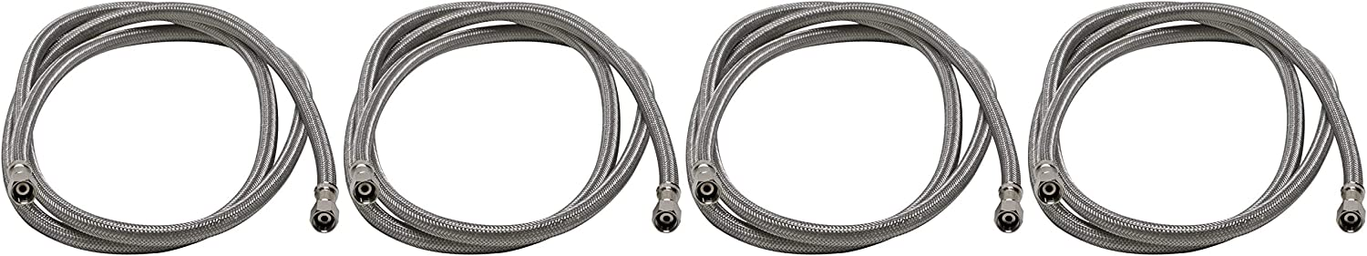 72-Inch Braided Stainless Steel 6 Ft. 2 Pack Fluidmaster 12IM72 Ice Maker Connector 1//4 Compression Thread x 1//4 Compression Thread Length