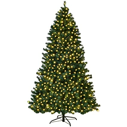 COSTWAY 8FT Pre-Lit PVC Artificial Christmas Tree Auto-Spread/Close up  Premium - Amazon.com: COSTWAY 8FT Pre-Lit PVC Artificial Christmas Tree Auto