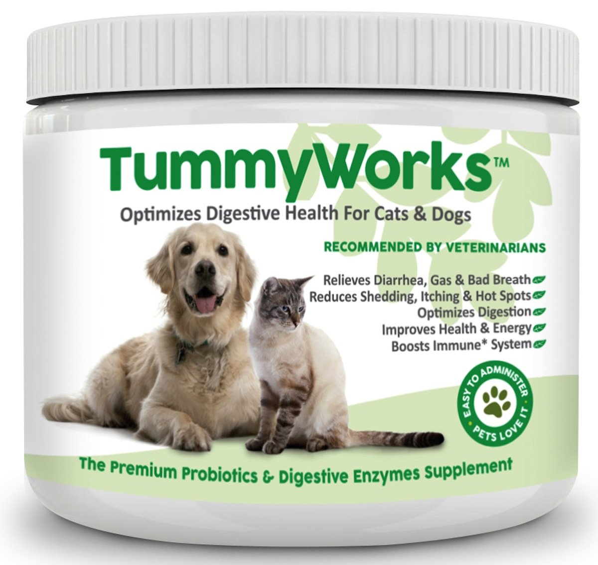 Probiotics For Dogs & Cats. Best Powder To Relieve Diarrhea, Yeast Infections, Itching, Skin Allergies & Bad Breath. Boosts Immunity. Added Digestive Enzymes Improve Digestion. Made In Usa 160 Scoops by Finest For Pets