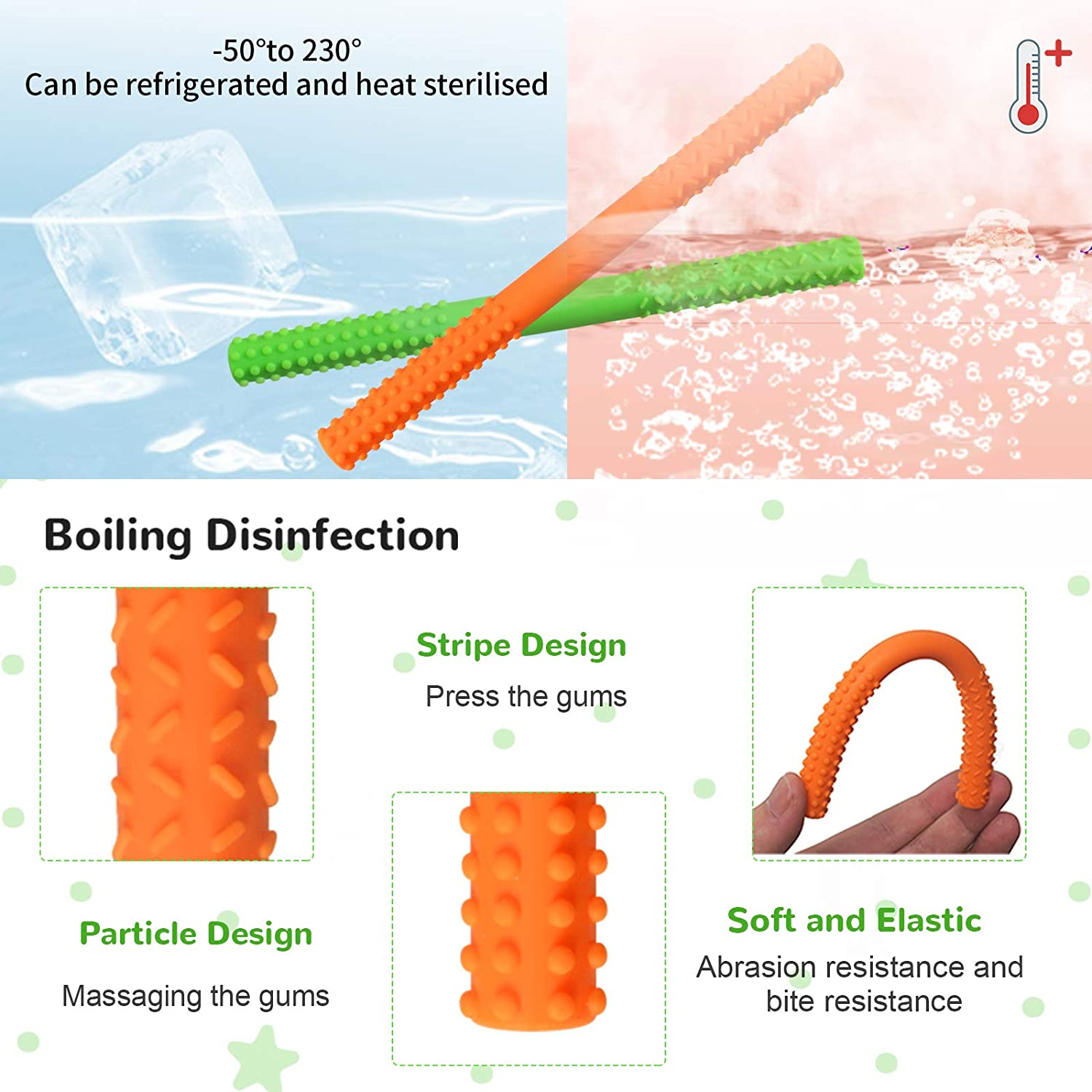 6.9 Long Hollow Teething Tubes Four Color Silicone Stick Shape Teether Straw Toys with a Cleaning Brush for Sensory Exploration and Tooth Relief Soft Silicone Teething Toys for Babies 0-12 Months