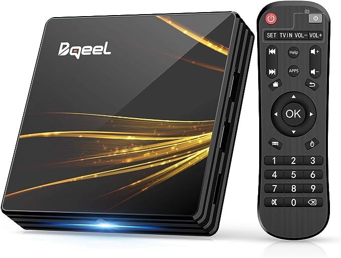 Android TV Box 10.0【4GB RAM+64GB ROM】 Bqeel TV Box RK3318 Quad-Core 64bit Cortex-A53 con 2k*4K UHD H.265, 5GHz / 2.4GHz WiFi ,BT 4.0 ,USB 3.0 Smart TV ...