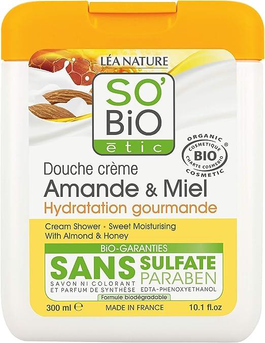 SoBio Étic -gel de ducha de almendra y miel, 300 ml, Paquete de 4 ...