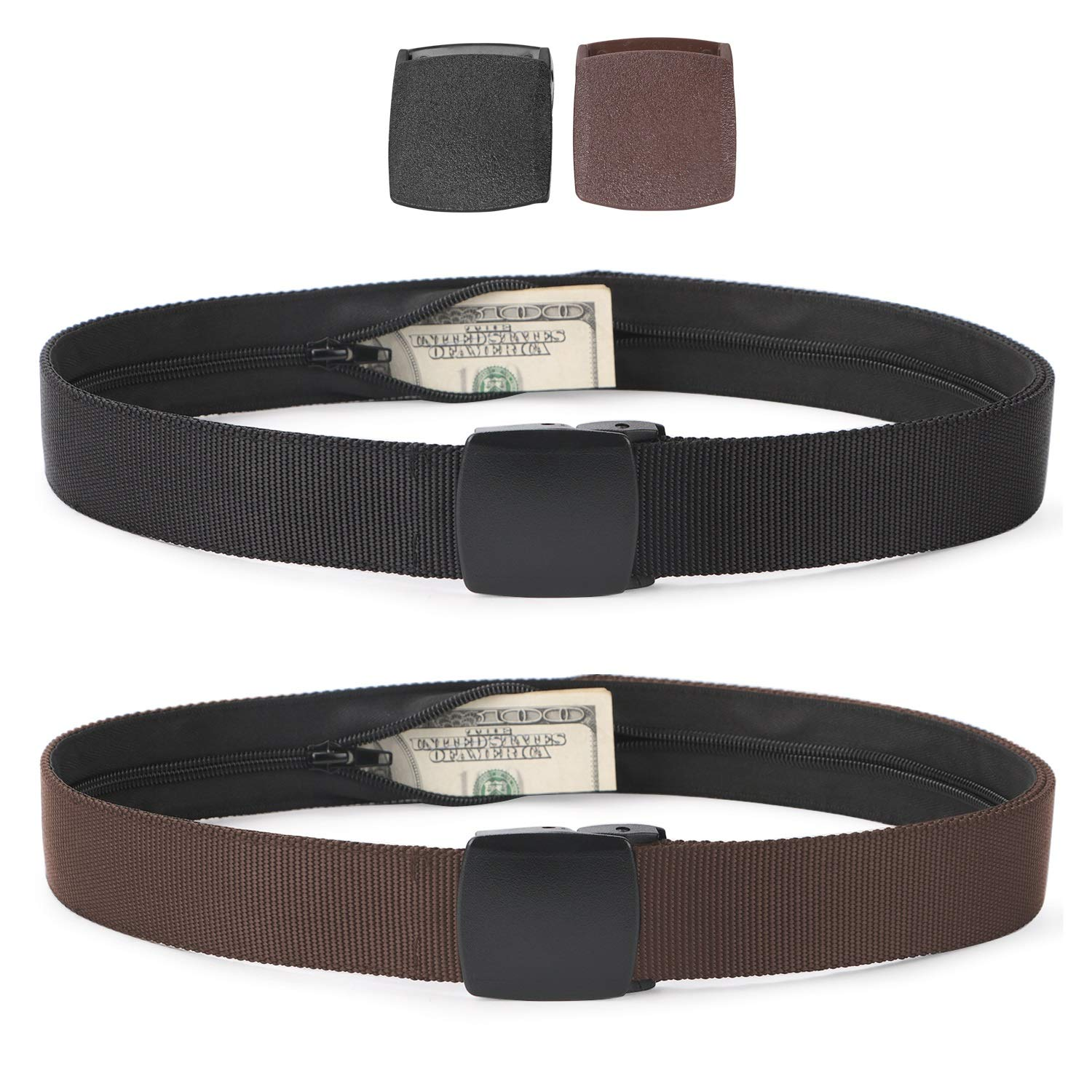 Travel Security Money Belt with Hidden Money Pocket - Cashsafe Anti-Theft Wallet Unisex Nickel free Nylon Belt by JASGOOD(Suit for pant size 26-40Inch,14-Black+Coffee) by JASGOOD