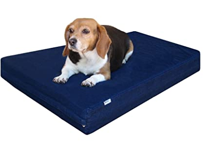 Merveilleux Dogbed4less Small Medium Gel Memory Foam Dog Bed, Durable Blue Denim Cover  With Waterproof Liner