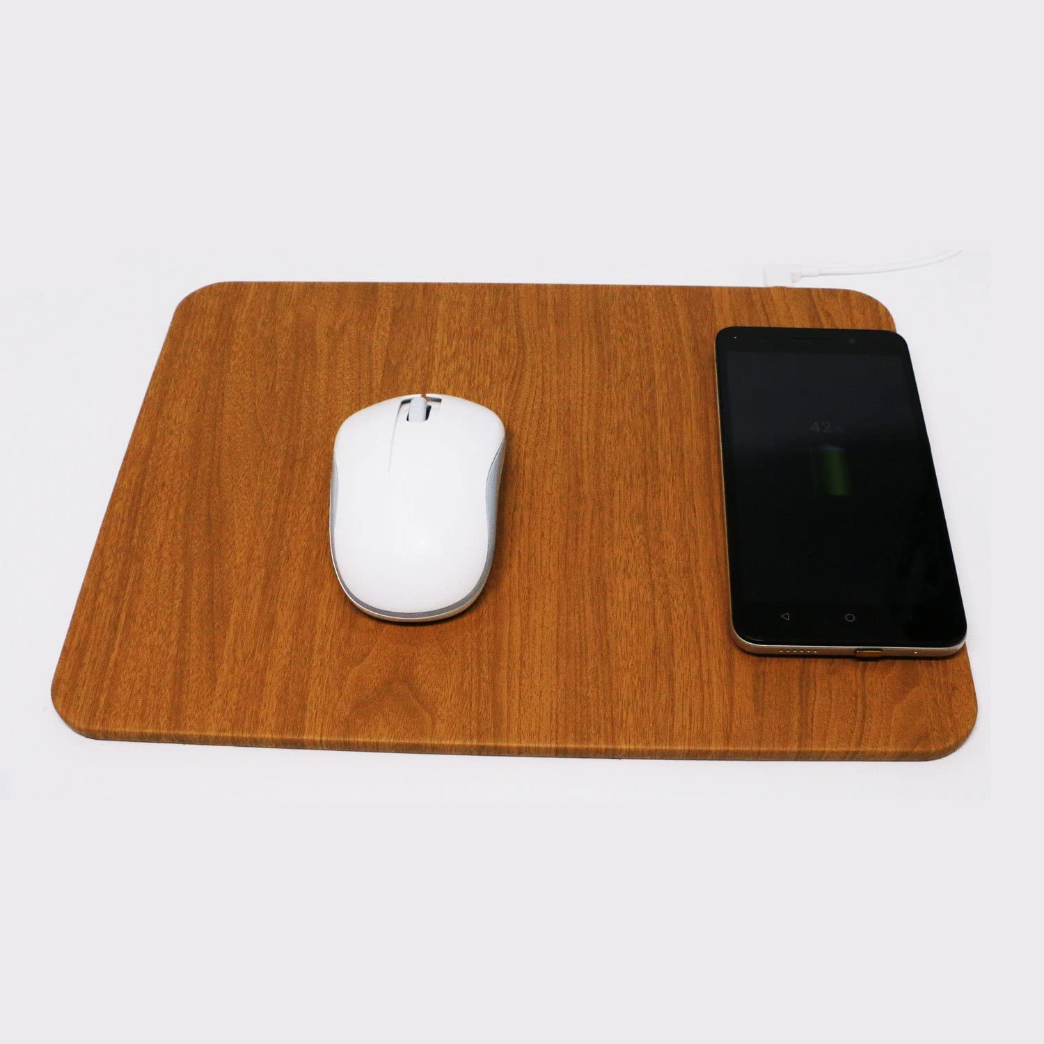 Samsung Note 8,S8,S7,S6//Edge,Nexus 5//6//7 Brown Wireless Mouse Pad Charger,5W QI Wireless Charging Mouse Pad for iPhone X,iPhone 8 8 Plus