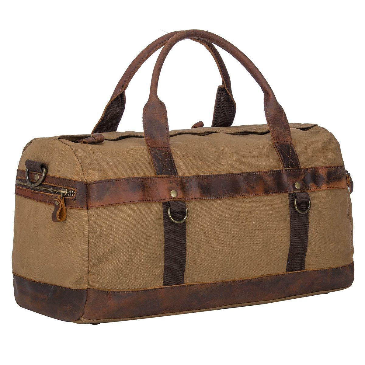 Travel Duffel Bag Waterproof Canvas Overnight Bag Oversized Genuine Leather Weekend Carryon Bag (Khaki)