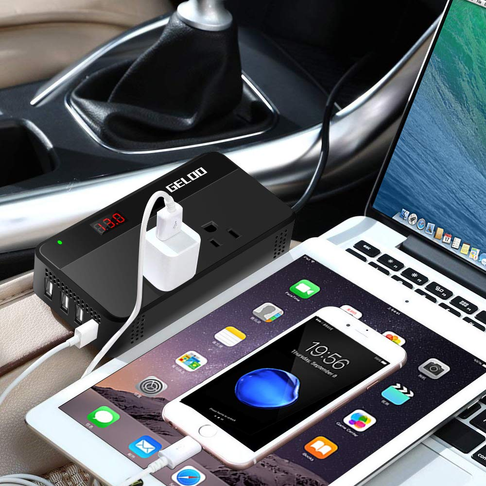 GELOO 200W Car Power Inverter DC 12V to 110V Power Inverter with 6.2A 4-Port USB Charging Car Adapter with LCD Display Screen