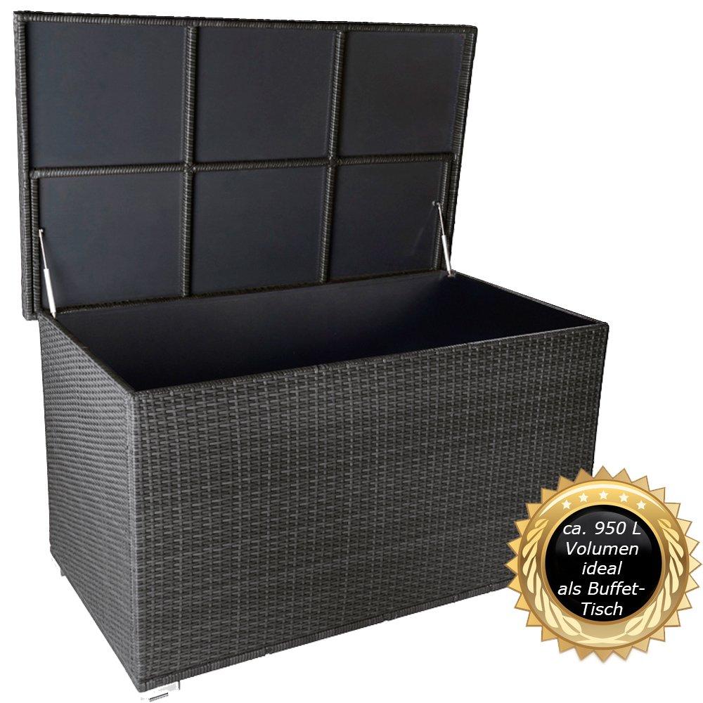 """PREMIUM """"Venezia"""" 950 L XXL Kissenbox (es regnet nicht rein) L 146 cm x B 83 cm x H 80 cm ideal als Buffet Tisch nutzbar mit 2 x Gasdruckstoßdämpfer und eingebauter Tischplatte Farbe: Silber"""