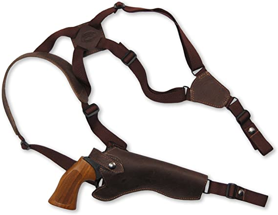 Barsony New Brown Leather Cross Harness Vertical Shoulder Holster for 6