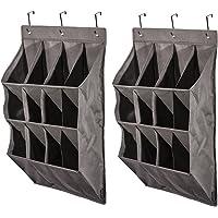 STORAGE MANIAC 12-Pocket Over The Door Hanging Organizer, Large Pocket Hanging Shelf, Gary, 2-Pack