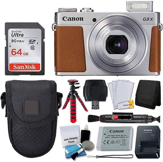Canon PowerShot G9 X Mark II Digital Camera (Silver) + SanDisk 64GB Memory Card + Point & Shoot Case + Flexible Tripod + USB Card Reader + Cleaning Kit + LCD Screen Protectors - Full Accessory Bundle