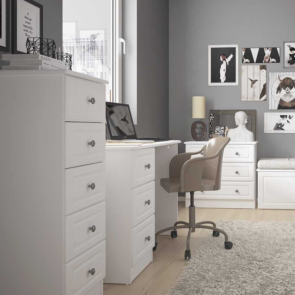 Scratch /& Moisture Resistant Furniture To Go Soft Close Drawers Hampshire 4 Drawer Narrow Chest with Easy Glide Runners White