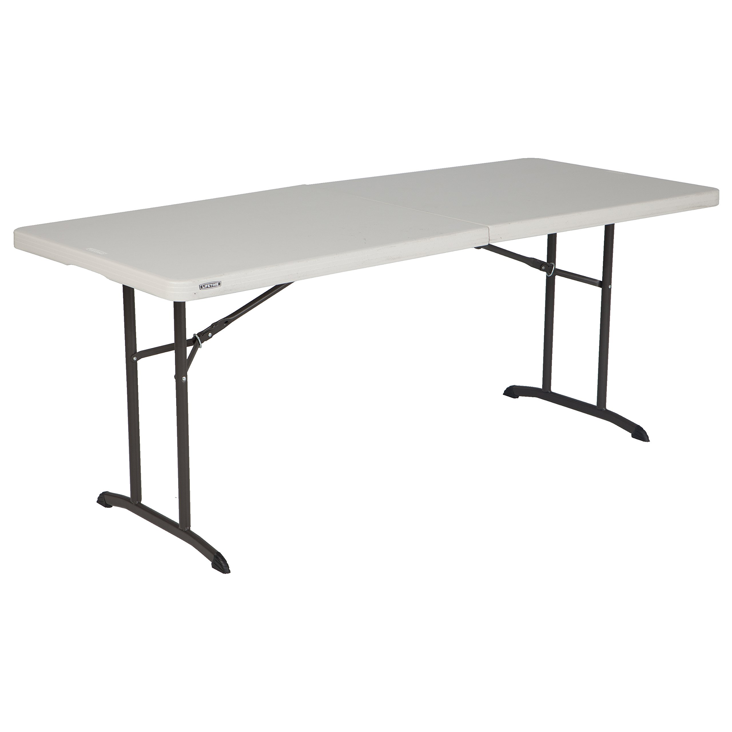 Lifetime 80382 Commercial Fold-In-Half Table, 6-foot, Almond by Lifetime