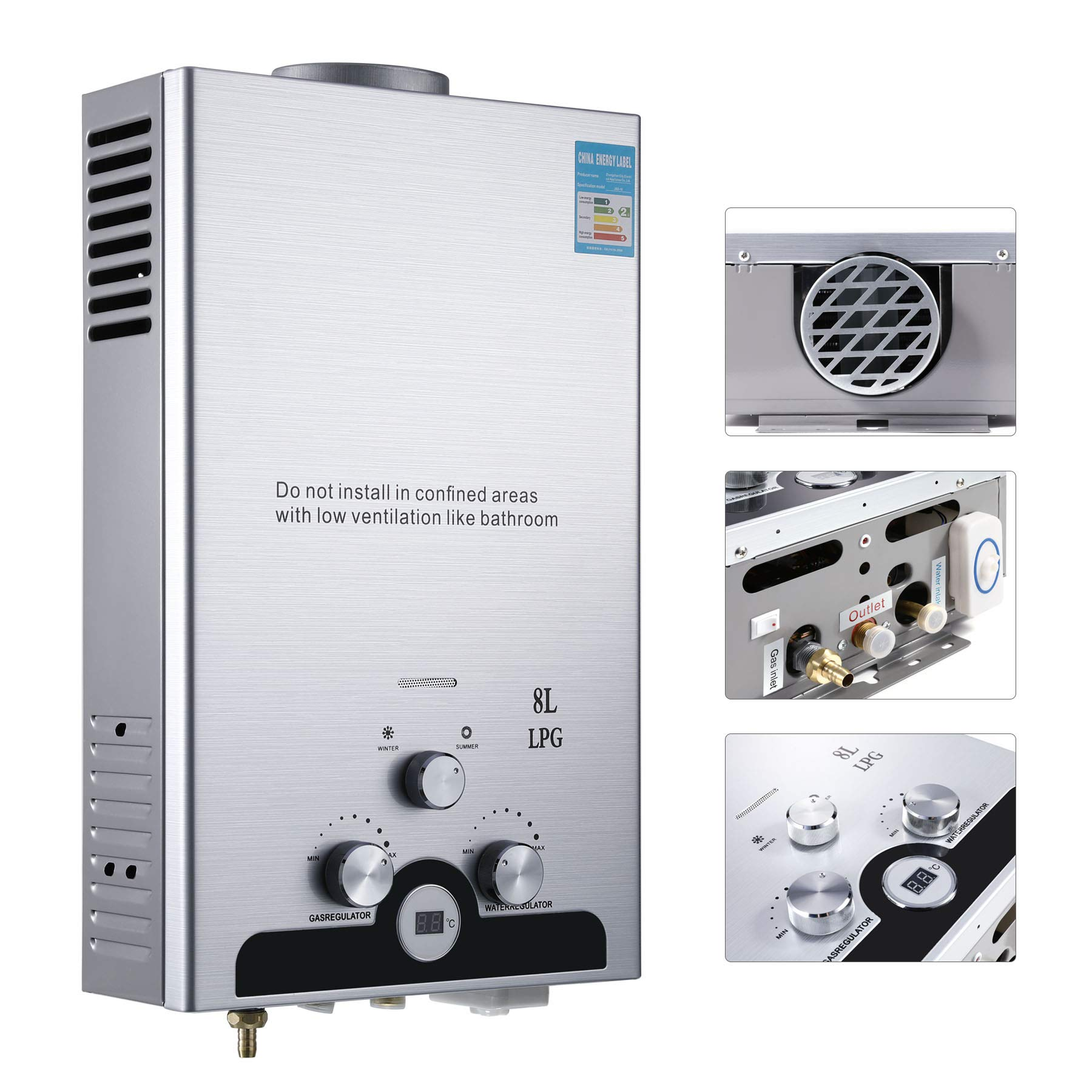 Valens LPG Hot Water Heater, 8L LPG Water Heater, 16kw Stainless Steel Automatic Ignition Liquefied Petroleum Gas Water Heater, Tankless Instant Boiler with LCD Display