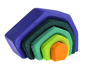 """Grimm's Small Stone Caves Nesting Wooden Blocks Stacker, """"Elements"""" of Nature: EARTH"""