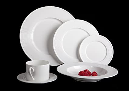 Mikasa Ridge 24 Piece Bone China Dinnerware Set Service for 4 & Amazon.com | Mikasa Ridge 24 Piece Bone China Dinnerware Set ...