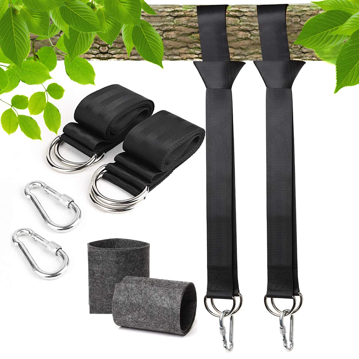 G-TING Tree Swing Hanging Straps Holds 2000lbs For Swings and Hammocks 2pcs 5ft