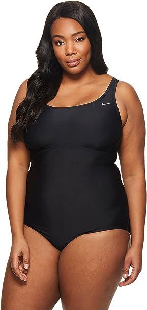 7d91610fcb8 Nike Women s Plus Size Racerback Spliced One-Piece Black 2X  Amazon ...