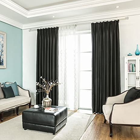Blackout Smooth Soft Bedroom Window Curtains Plain Faux Silk Drapes Panel For Living Room
