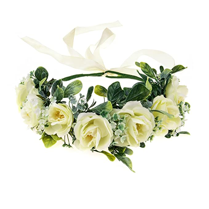 77c48389b Love Sweety Succulents Flower Crown Greenery Rose Floral Headpiece Grass  Bridal Boho Headband (Beige)