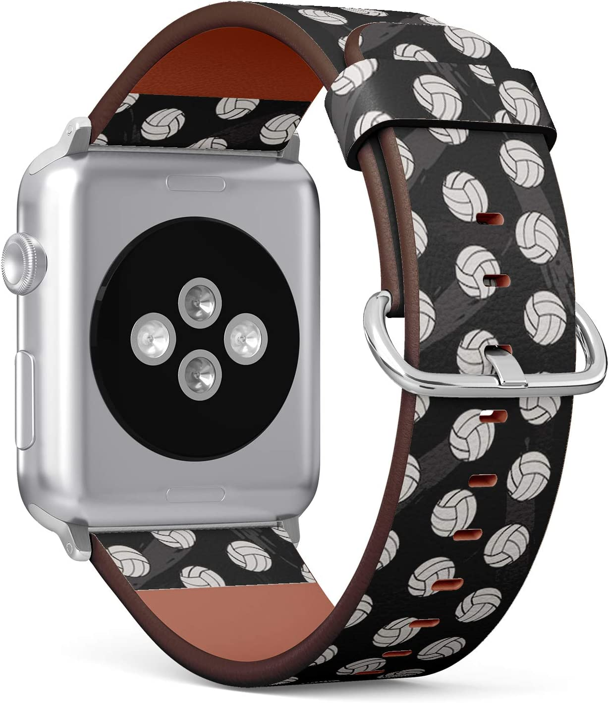 Compatible with Apple Watch (Small Version) 38 / 40mm Leather Wristband Bracelet with Stainless Steel Clasp and Adapters -Volleyball Boy Sports