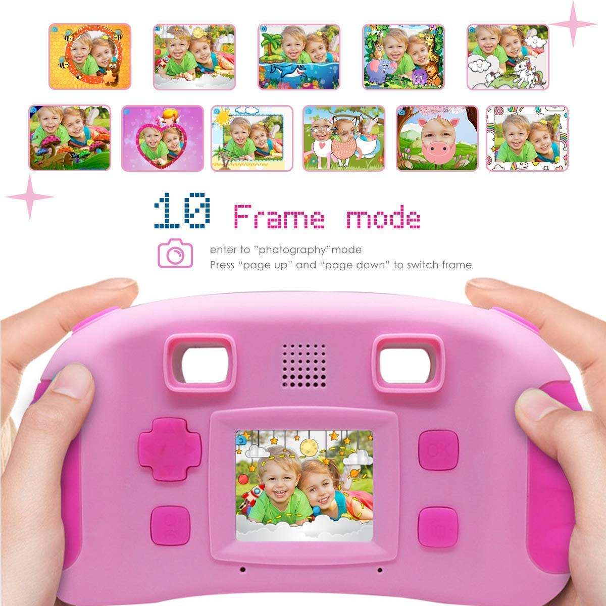Vetté Digital Camera for Kids with 16GB MicroSD Card - Multifunctional Kids Camera - 2X Zoom, 720 HD Video Quality, 1.8 TFT LCD Screen,Games, Frames, Photo Editing and Voice Recorder Camera (Pink) by Vetté (Image #5)