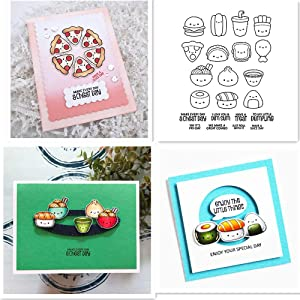 Food Theme Noodles Hamburger Pizza Chips Best Wishes Friendly Phrase Greetings Words of Encouragement Silicone Clear Stamp for Card Making and DIY Scrapbooking Paper Crafts