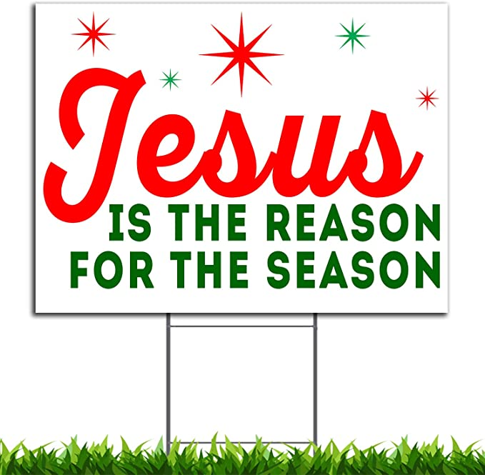 VIBE INK Jesus is The Reason for The Season Christmas Holiday Yard Sign, 24x18, Double-Sided, Large, Corrugated Plastic, Waterproof, Metal Stand ...