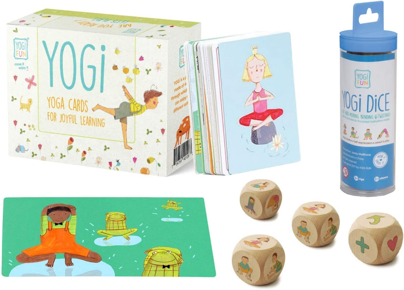 YOGi FUN Yoga Cards and Wooden Dice for Christmas for Children, Boys and Girls