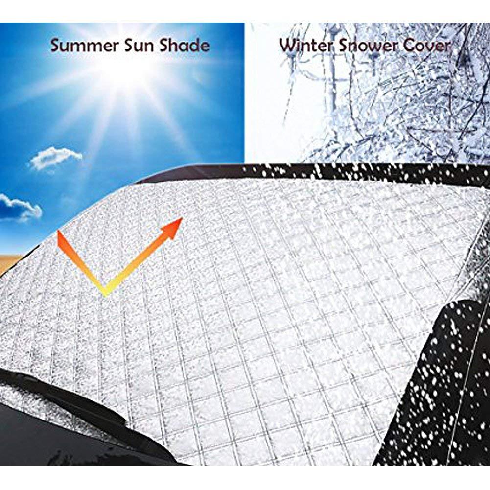 98cm BeiLan Parasol de Coche Protector de Parabrisas Cubierta de Nieve y de Sol Antihielo Funda de Parabrisa Delantero Universal para Coche 140