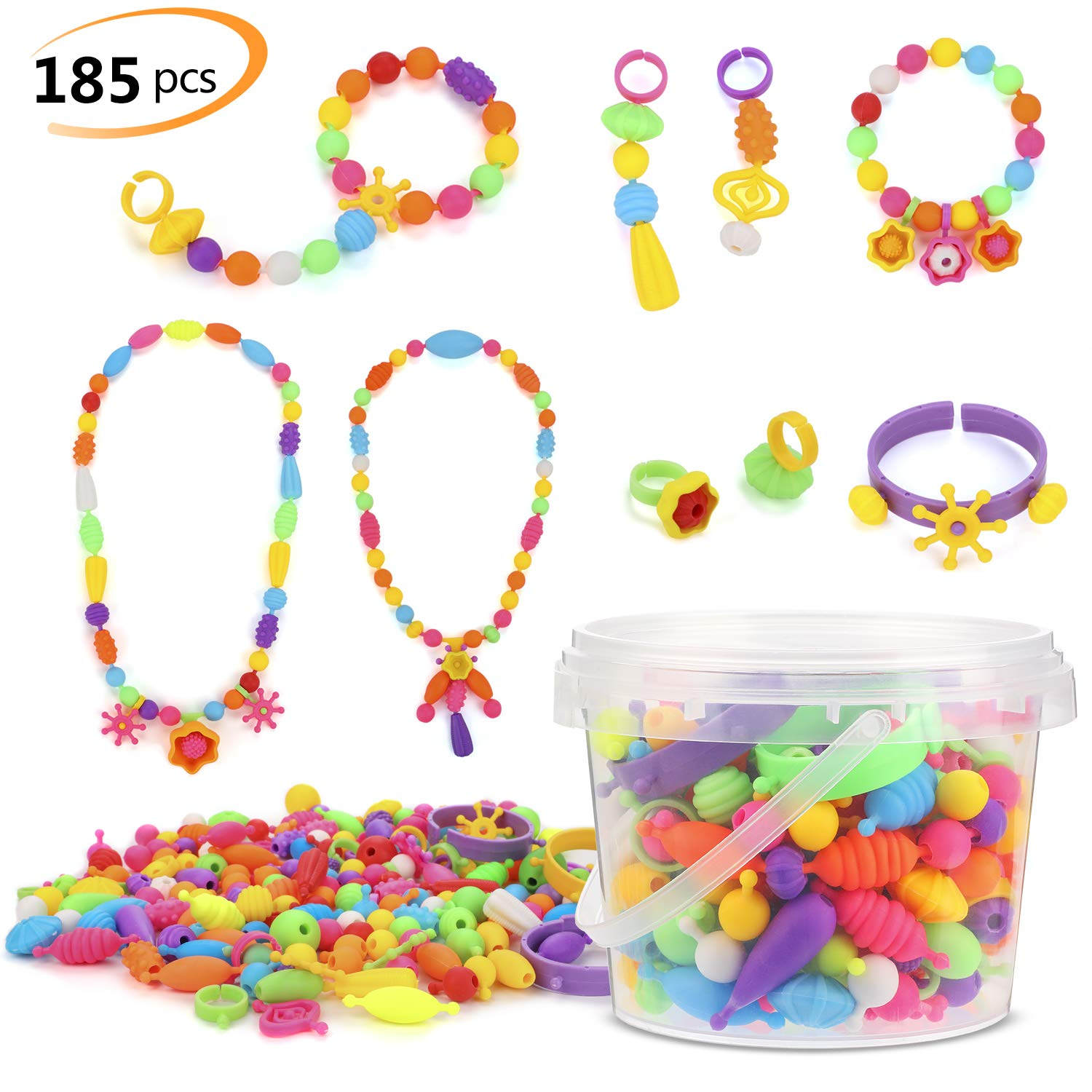 Phogary Pop Beads Set 185 PCS Pop Snap Beads Arts and Crafts Toys Gifts for Kids Age 4yr 8yr Jewellery Making Kit for 4 5 6 7 Year Old Girls Necklace and Bracelet and Ring Creativity DIY Set
