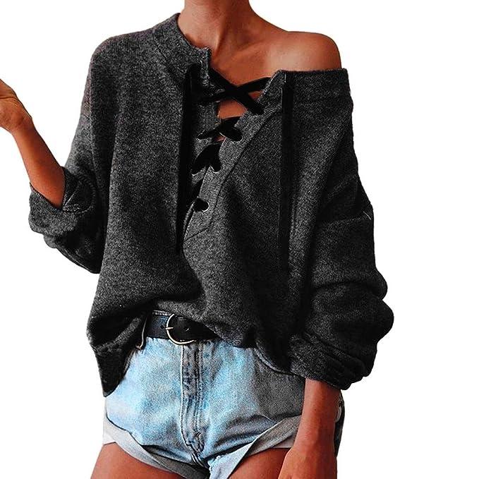 Koly Mujeres Casual Atractiva Camiseta Con Manga Larga Escotado por Detrás  Camisa Blusa T-shirt d5572eb8289