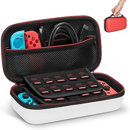 Keten Funda para Nintendo Switch, Última Versión de Estuche de Transporte para Consola Nintendo Switch, Juegos, Joy-con y Carcasa Dura para 19 Cartuchos de Juegos (Rojo y Blanco): Amazon.es: Electrónica