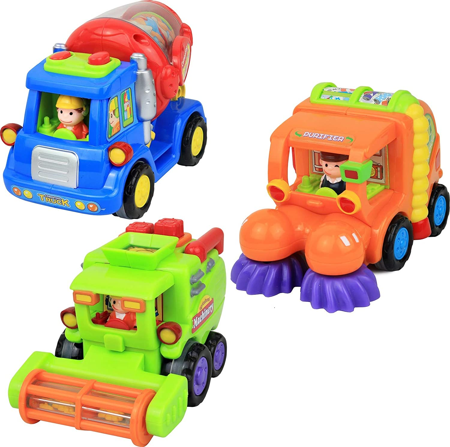 Click N' Play Push & Go Cartoon Friction Powered Car Toys for Kids, Cement Truck, Street Sweeper Truck & Harvester Truck (Set of 3)